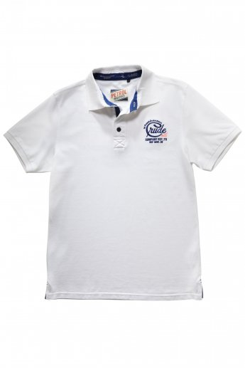 Polo-Shirt Petrol - white