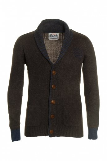 Strickjacke Petrol - dark brown