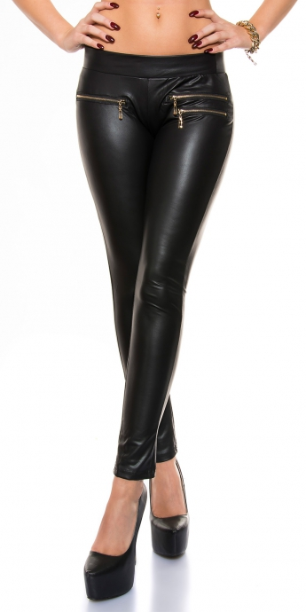 Lederlook Leggings - black