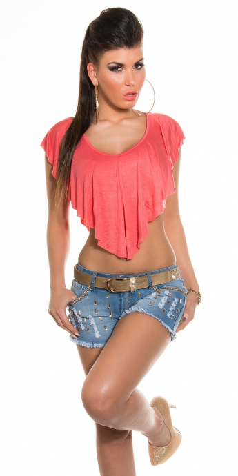 Top mit Volant - coral