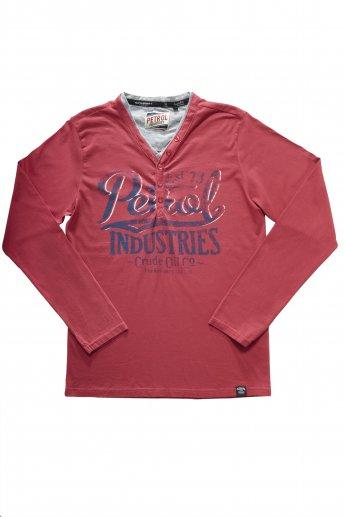 Langarmshirt Petrol - red
