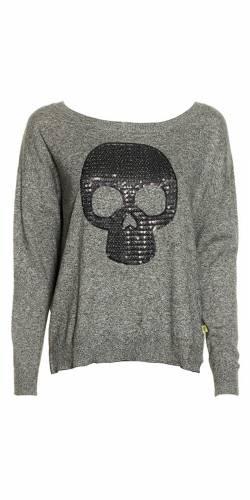 Strickpullover Print - grey