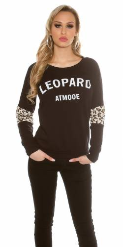 Pullover Leopard - black