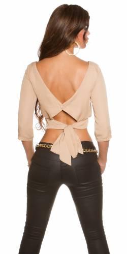 Bluse Rückenfrei - beige
