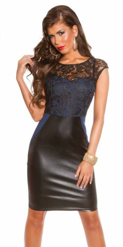Kleid Lederlook - dark blue