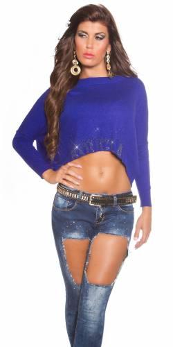 Crop Pullover - dark blue