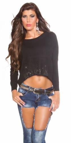 Crop Pullover  - black