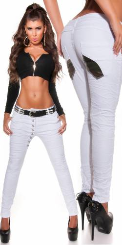Low Crotch Jeans - white