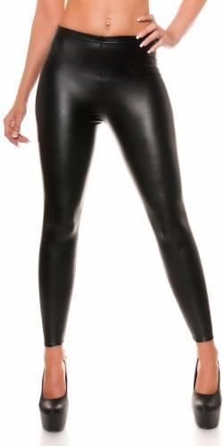 Leggings Leder Optik - black