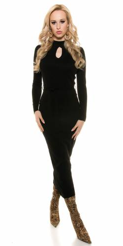 Feinstrick-Kleid - black