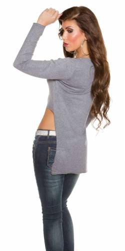 High Low Pulli - grey