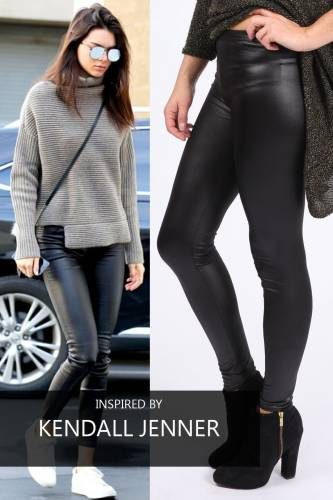 Leggings Wet Look - black