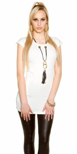 Shirt mit Kette - white