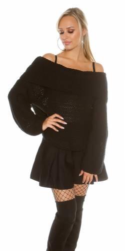 XL-Kragen Pulli - black