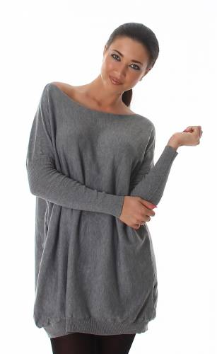 Long Strickpullover - grey
