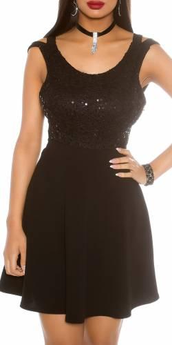 Pailletten Kleid - black