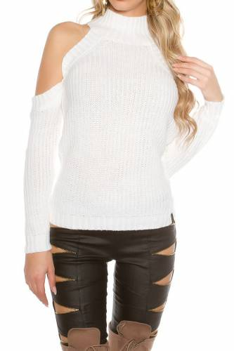Cold Shoulder Pulli - white