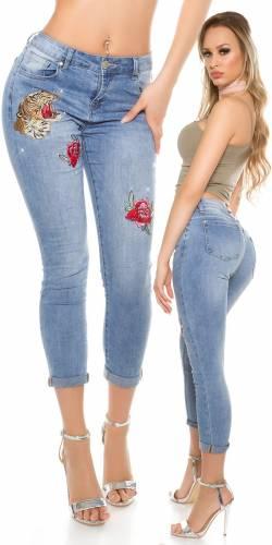 Jeans Stickerei - blue
