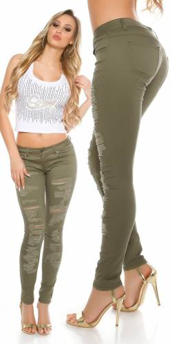 Destroyed Jeans - khaki