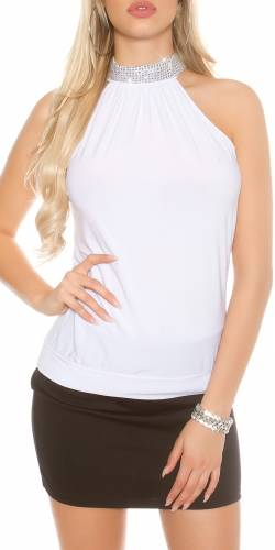 Neck Party Top - white