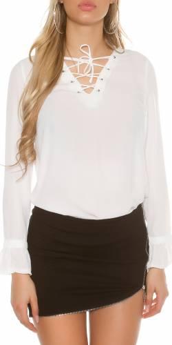 Langarm-Bluse - white