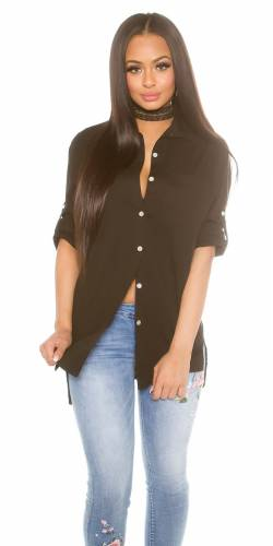 High Low Bluse - black