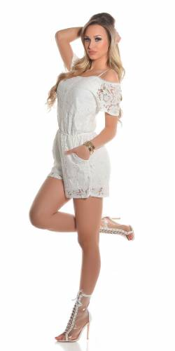 Spitzen Playsuits - white
