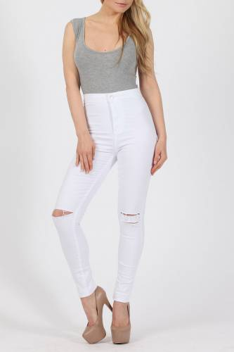 High Waisted Jeans - weiss