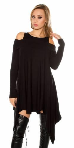 Feinstrick Minikleid - black