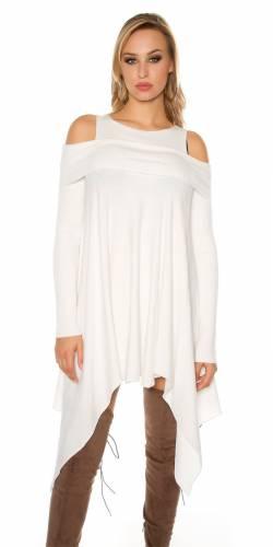 Feinstrick Minikleid - white