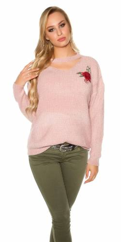 Grobstrick Pulli - old rose
