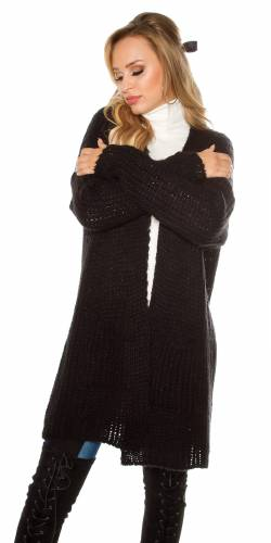 Grobstrickjacke - black