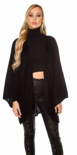 XXL Grobstrickjacke - black