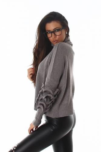 Rollkragen Pullover - grau