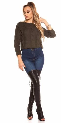 Crop Pullover - khaki