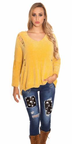 Chenille Pulli - yellow
