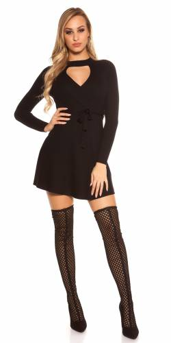 Ripp Strickkleid - black