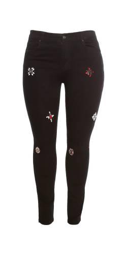 Jeans mit Glitzersteinen - schwarz