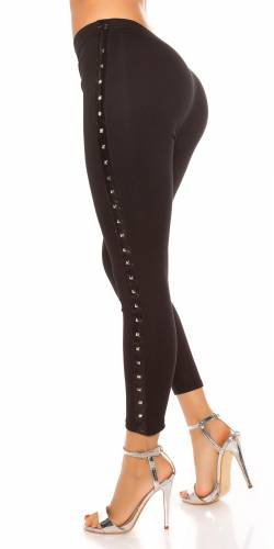 Nieten Leggings - black