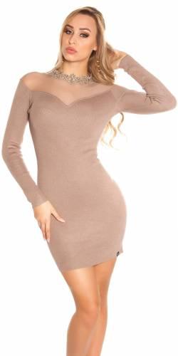Feinstrick Kleid - beige