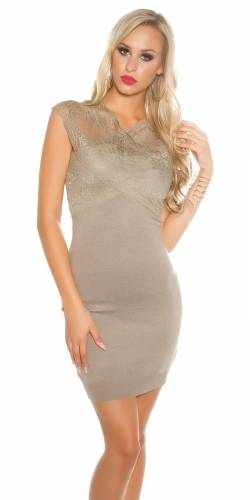 Spitzen Kleid - light brown
