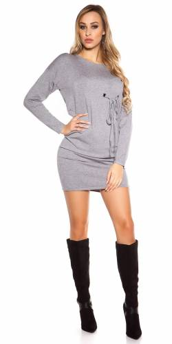 Langarm-Minikleid - grey