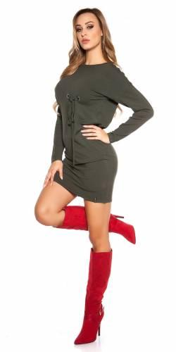 Langarm-Minikleid - khaki