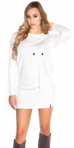 Langarm-Minikleid - white