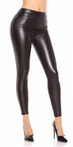 Lederlook-Leggings - black
