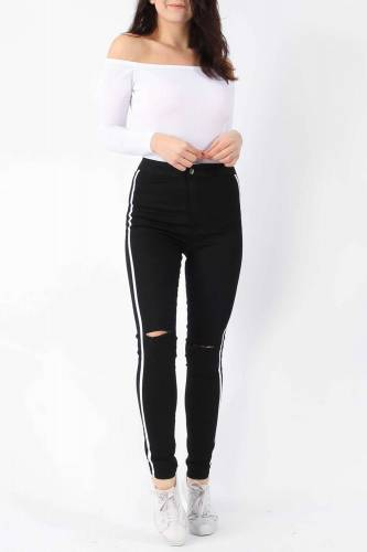 Stripe Jeans - black