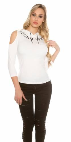 Kapuzen Shirt - white