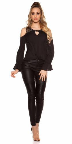 Volant Bluse - black