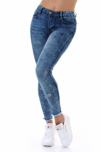 Jeans mit Ösen - blue