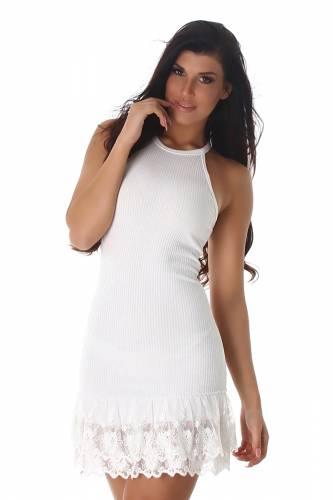 Feinripp Neck-Kleid - white